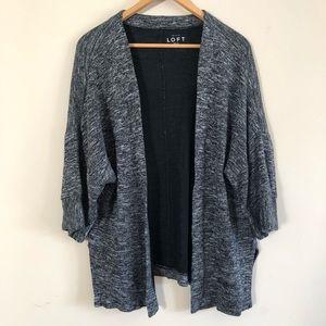 LOFT Cardigan Sweater Open Front Knit Black Med